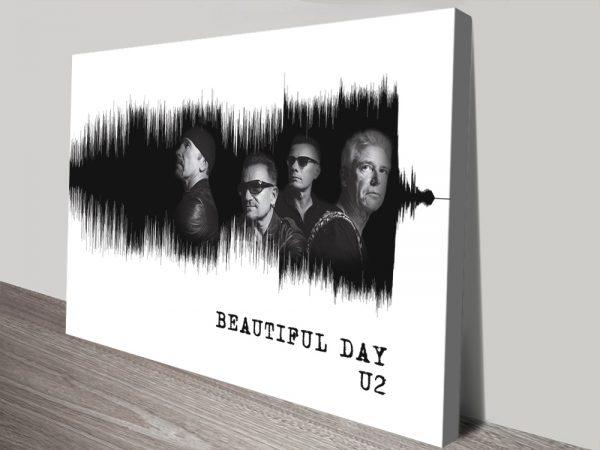 U2 White Soundwaves Art Print on Canvas