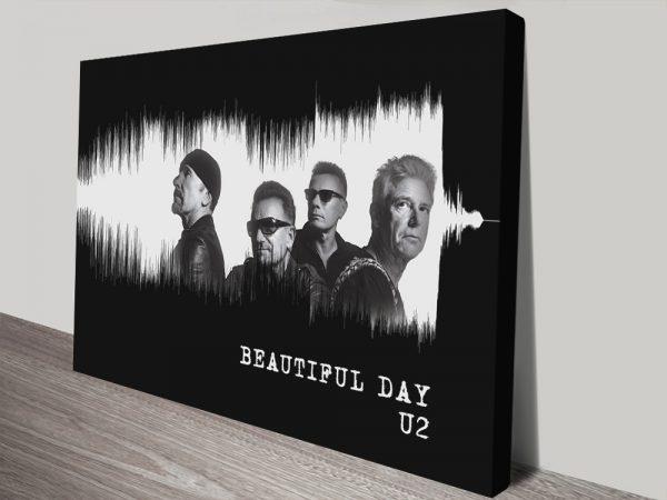 Beautiful Day by U2 Soundwave Art in Black