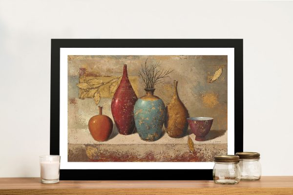 Leaves & Vessels with Twigs Framed Canvas Print