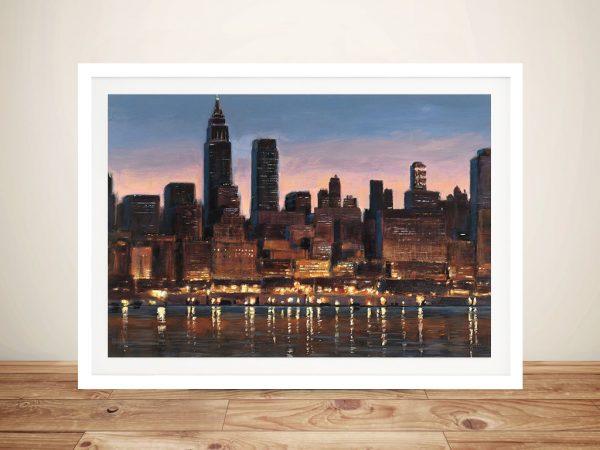 Manhattan Reflection Framed City Skyline Art