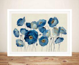 Aquamarine Floral on Cream Silvia Vassileva Art