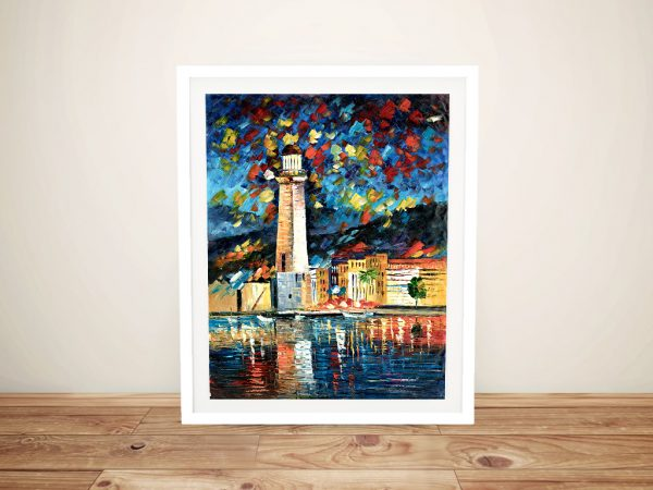 City Lighthouse Oil Painting Print on Canvas