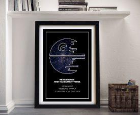 Death Star Star Wars Personalised Map Art