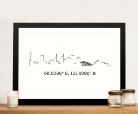Custom Skyline Canvas Art with Coordinates