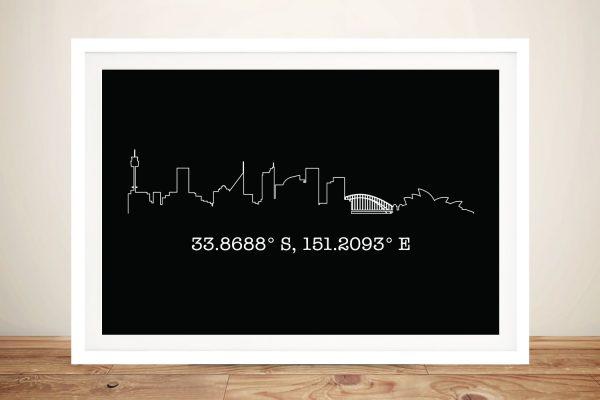 Framed Custom Sydney Skyline Art Gift Ideas AU