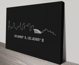 Buy a Sydney Skyline Print with Coordinates