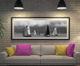 The Race Black & White Panoramic Art Print