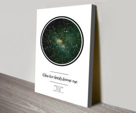 Two Hearts Personalised Canvas Star Chart Art