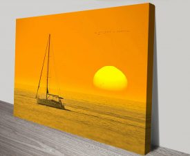 Backlit Boat at Dawn Seascape Print on CanvasBacklit Boat at Dawn Seascape Print on Canvas