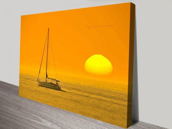 Backlit Boat at Dawn Seascape Print on CanvasBacklit Boat at Dawn Seascape Print on Canvas