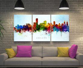 Adelaide Skyline Michael Tompsett Triptych Art