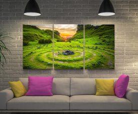 Ancient Circles Landscape Triptych Art