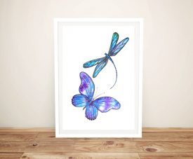 Buy Butterfly & Dragonfly Canvas Art Print