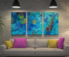 Coy Kitty 3-Panel Iris Scott Canvas Wall Art