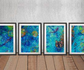 Coy Kitty Iris Scott Multi-Panel Art Prints