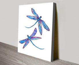 Dragonfly Delight Abstract Art Canvas Print