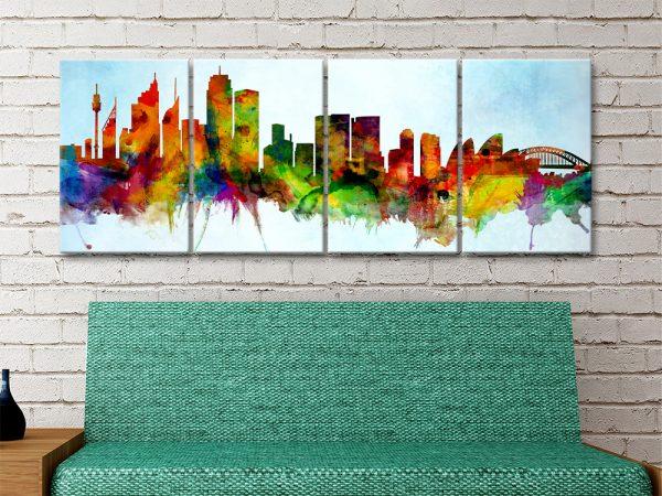 Sydney Skyline in Watercolour Tones AU