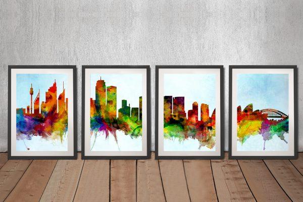 Multicoloured Sydney Skyline Split Panel Art