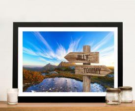 Framed Cradle Mountain Wooden Signpost Art