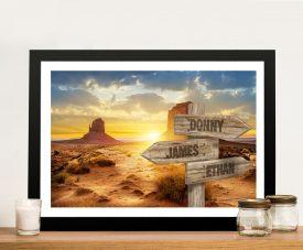 Desert Sunset Custom Signpost Art on Canvas