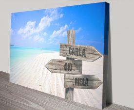 Buy a Maldives Custom Signpost Canvas Print
