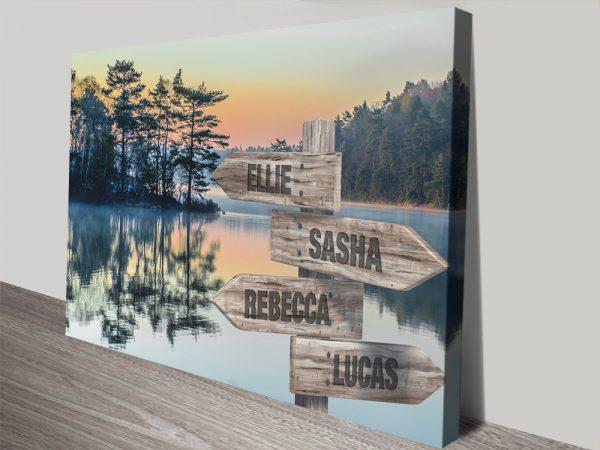 Mountain Lake Custom Signpost Art Online