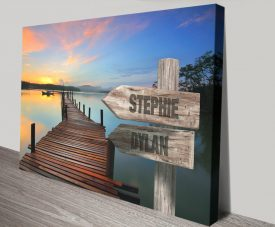 Gentle Jetty Wooden Signpost Canvas Print