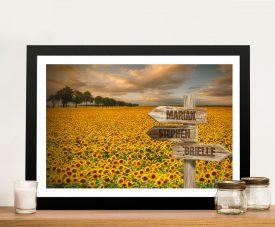 Sunflower Field Framed Custom Signpost Print