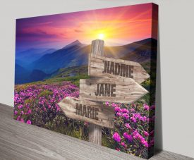 Pink Fields Personalised Signpost Wall Art