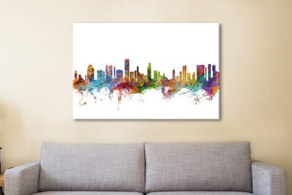 Buy a Ready to Hang Honolulu Skyline Print