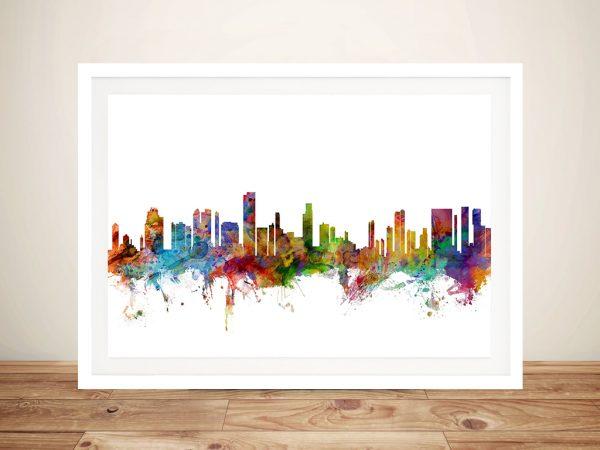 Framed Skyline Art of Honolulu Cheap Online