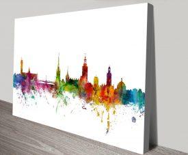 Stockholm Skyline Multicoloured Wall Art
