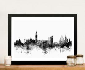 Venice Skyline Black Watercolour Artwork
