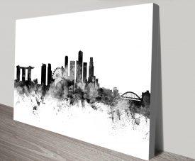 Buy a Black & White Singapore Skyline Print