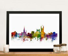 Bath Skyline Colourful Watercolour Wall Art
