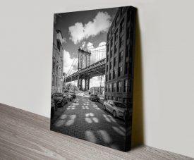 Manhattan Bridge Black & White Canvas Art
