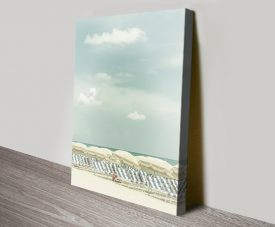 Vintage Beach Scene Stretched Canvas Art