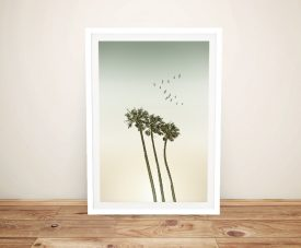 Palm Trees & Sunset Framed Print on Canvas