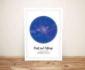 Buy a Framed Blue Star Map Bespoke Print