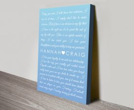 Ready to Hang Powder Blue Wedding Vows Art