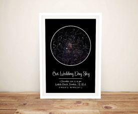 Our Wedding Day Sky Framed Custom Art