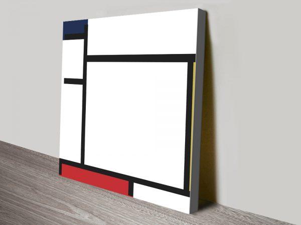 Piet Mondrian Blue Yellow Red & Grey Art