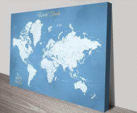 Buy a Powder Blue Bespoke World Map