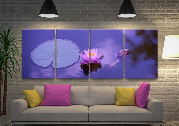 Purple Lotus Multi-Panel Spiritual Artwork