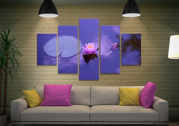 Purple Lotus Flower Split-Diamond Wall Art