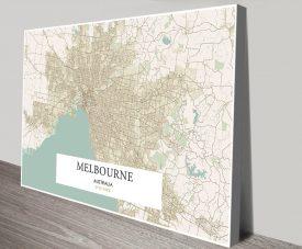 Stretched Canvas Vintage Melbourne Map