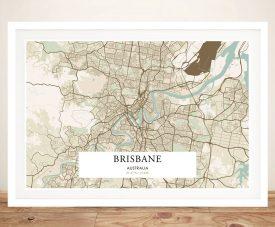Buy a Vintage Detailed Map of Brisbane
