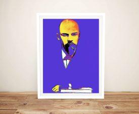 Framed Warhol Blue Lenin Print on Canvas