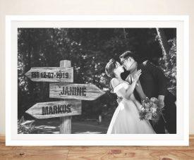 Bespoke Wedding Photo Signpost Print on Canvas
