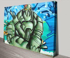 Alien Invasion Graffiti Print on Canvas